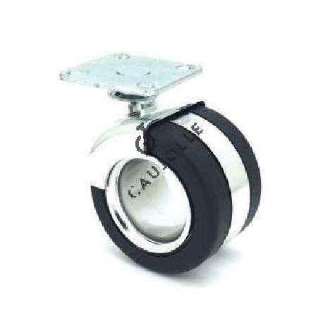 CAUJOLLE castor wheel without central hub 65 mm diameter perfect for all interior deco furniture. The wheel body is in nylon and the outer tyre in soft, non-marking PVC.