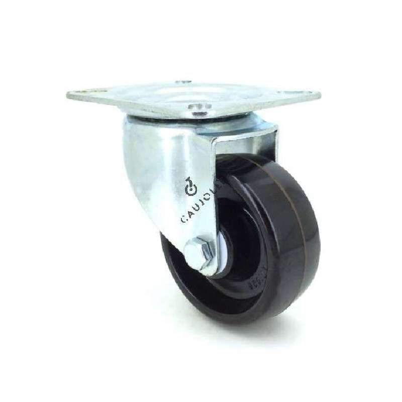 Castor wheel on steel mounting plate, especially designed for food industry sectors due to its resistance to high temperatures (270° maximum).Swivel action on ball bearings, phenolic resin roller. Great resistance and rotates with ease. Perfect for bakeries, ironworks etc...Roller Ø80