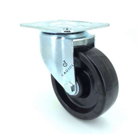 Castor wheel on steel mounting plate, especially designed for food industry sectors due to its resistance to high temperatures (270° maximum). Swivel action on ball bearings, phenolic resin roller. Great resistance and rotates with ease. Perfect for bakeries, ironworks etc... Roller Ø100