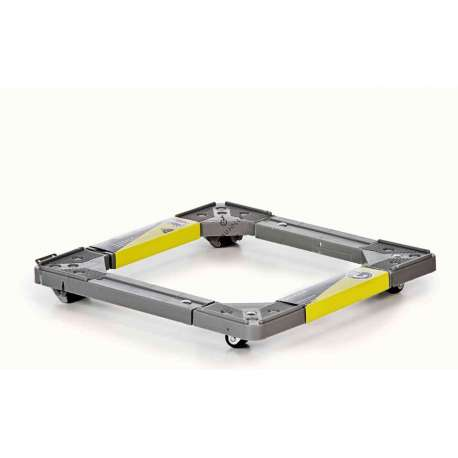 Rolling brackets in polypropylene for electrical appliances suitable for all equipment from 45 to 60 cm wide. Bears a load of 200 kg on a total of 10 wheels with wheel block system.