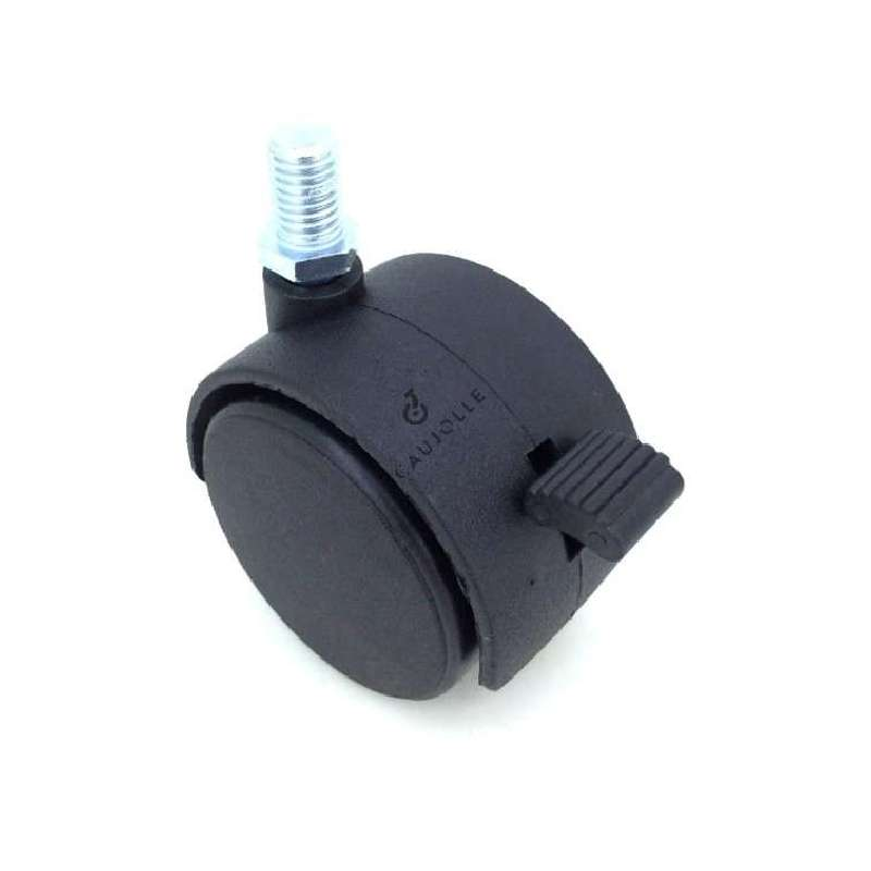 Office chair castor wheel with brake. Use on hard floors or thin carpets, for armchairs or small furniture. Black plastic roller, smooth hub, snap-on axle. Black plastic mounting, swivels on threaded spindle.