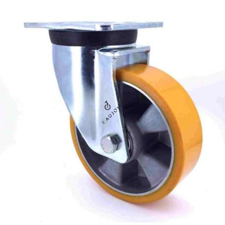 Industrial fixed-position castor wheel in polyurethane by excellence! 200 mm diameter and 500 kg load.