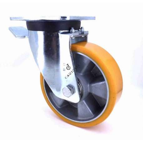 Industrial castor wheel with brake in polyurethane by excellence! 160 mm diameter and 500 kg load.