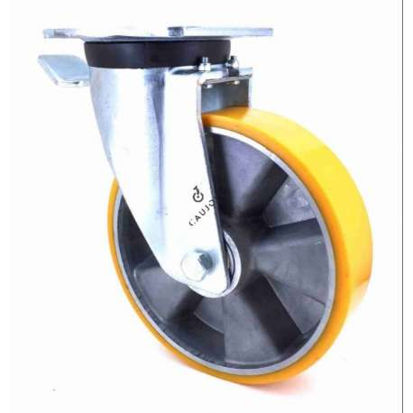 Industrial castor wheel in polyurethane by excellence! 200 mm diameter and 500 kg load.