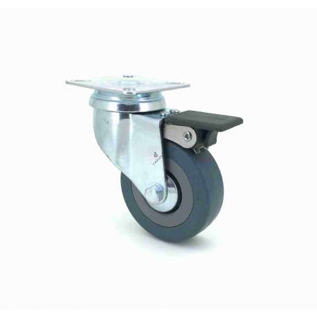 Castor wheel on swivel mounting plate with brake, galvanised chromate pressed steel housing. Swivel action on two collars of ball bearings. The roller tyre is in non-marking rubber, low profile and with threadguard. Industrial usage possible on smooth and hard floors. Roller Ø65 mm.