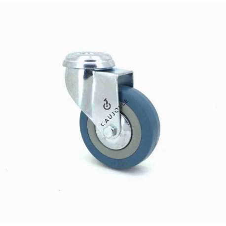 Castor wheel on swivel mounting eye, galvanised chromate pressed steel housing. Swivel action on two collars of ball bearings. The roller tyre is in non-marking rubber, low profile and with threadguard. Industrial usage possible on smooth and hard floors. Roller Ø65 mm.