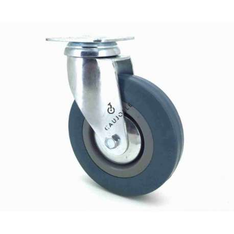 Castor wheel on swivel mounting plate, galvanised chromate pressed steel housing. Swivel action on two collars of ball bearings. The roller tyre is in non-marking rubber, low profile and with threadguard. Industrial usage possible on smooth and hard floors.Roller Ø125 mm.