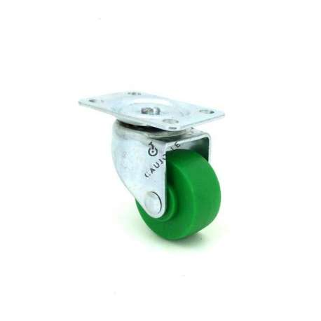 Castor wheel on swivel mounting plate, galvanised chromate pressed steel housing. Swivel action on one collar of ball bearings. Its roller is in polypropylene green colour with riveted axle. Use possible on smooth and even floors, supple and silent movement. Roller Ø30.