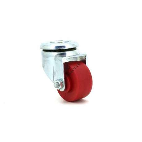 Castor wheel on eye swivel, galvanised chromate pressed steel housing. Swivel action on one collar of ball bearings. Its roller is in polypropylene red colour with riveted axle. Use possible on smooth and even floors, supple and silent movement. Roller Ø30.
