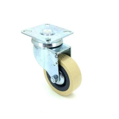 Castor wheel on swivel mounting plate, galvanised chromate pressed steel housing. Swivel action on two collars of ball bearings. The roller tyre is in non-marking rubber ivory colour, low profile and with threadguard. Industrial usage possible on smooth and hard floors. Roller Ø65.