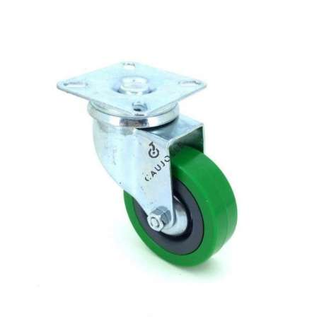 Castor wheel on swivel mounting plate, galvanised chromate pressed steel housing. Swivel action on two collars of ball bearings. The roller tyre is in non-marking rubber green colour, low profile and with threadguard. Industrial usage possible on smooth and hard floors. Roller Ø65.