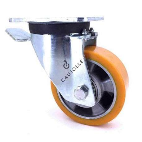 Industrial castor wheel with brake in polyurethane by excellence! 125 mm diameter and 350 kg load.