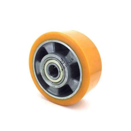 Polyurethane wheel with aluminium rim 125 mm diameter with 20 mm ball bearings. Very robust product over time.