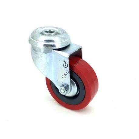 Castor wheel on eye swivel, galvanised chromate pressed steel housing. Swivel action on two collars of ball bearings. The roller tyre is in non-marking rubber red colour, low profile and with threadguard. Industrial usage possible on smooth and hard floors. Roller Ø65 mm.