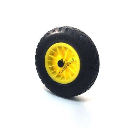 Puncture-proof wheel in polyurethane foam 400 mm diameter. Reinforced polypropylene rim Hub with roller bearings for great comfort when rolling on all types of terrains. Is perfectly suited to the garden or smooth floors. Very robust product with 5 YEAR GUARANTEE