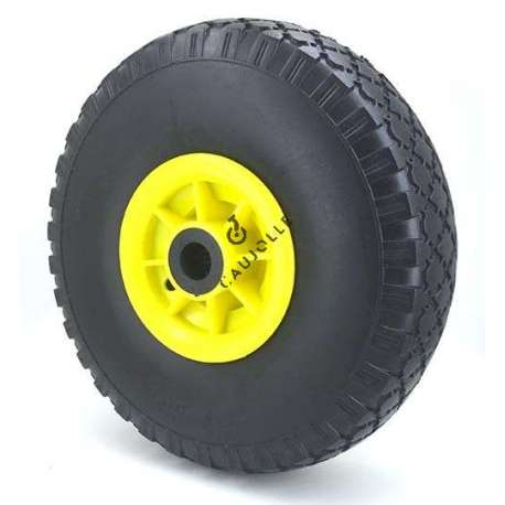 Puncture-proof trolley wheel in polyurethane foam 260 mm diameter with 20 mm bore.