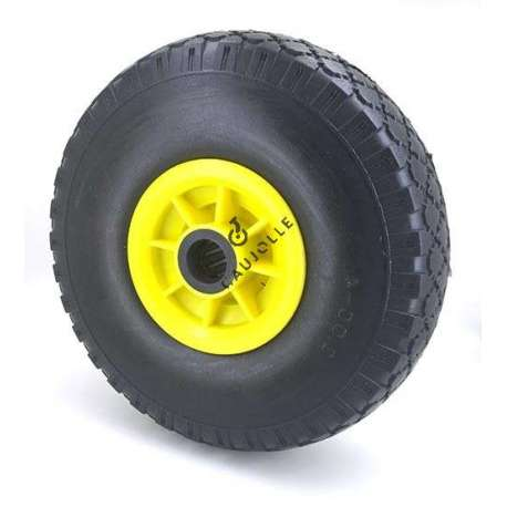 Puncture-proof trolley wheel in polyurethane foam 260 mm diameter with 25 mm bore.
