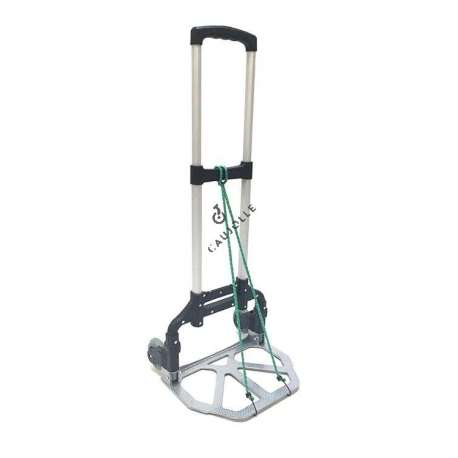 Folding trolley in aluminium ideal for small removals, transporting shopping, delivering packages. Very easy to put away in any car boot and can carry up to 60 kg of goods. It is delivered with elastic straps that attach with hooks to secure boxes more easily for example. Very robust product.