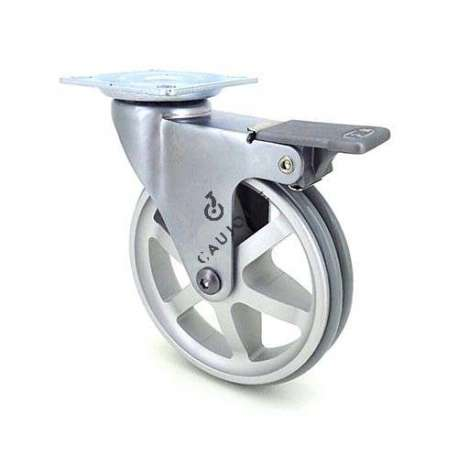 Swivel designer castor wheel with brake in die-cast aluminium 100 mm diameter.