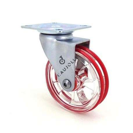 Swivel colour castor wheel in polyurethane, transparent red 75 mm diameter.