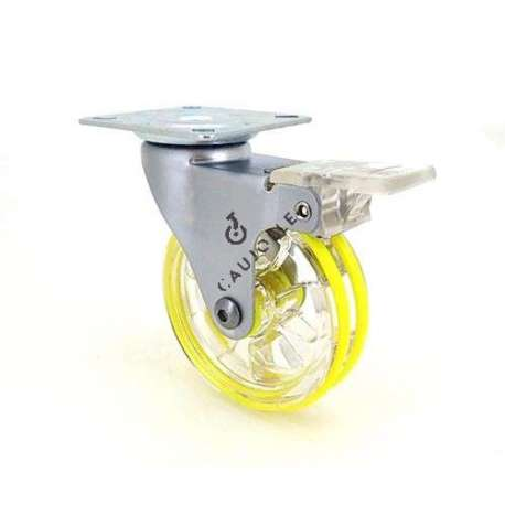 Swivel colour castor wheel with brake in polyurethane, transparent yellow 75 mm diameter.