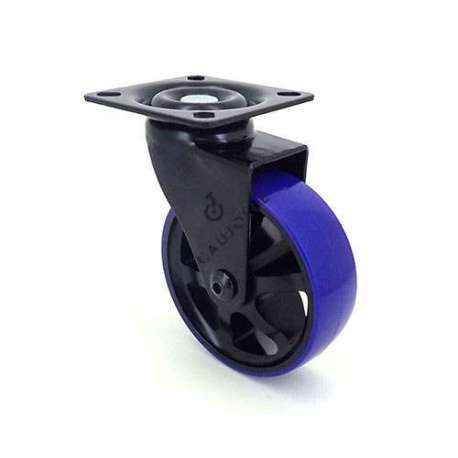Swivel designer castor wheel in aluminium/polyurethane 75 diameter with blue tyre.