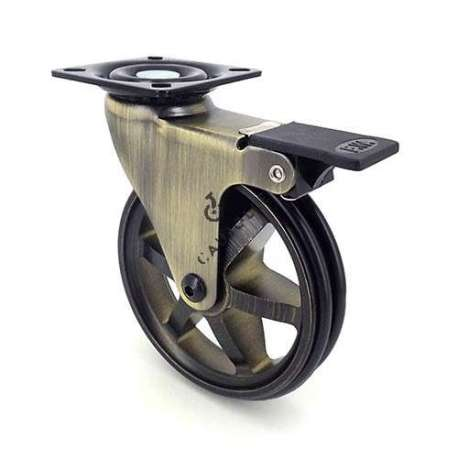 Swivel gold designer castor wheel with brake, in die-cast aluminium 100 mm diameter.