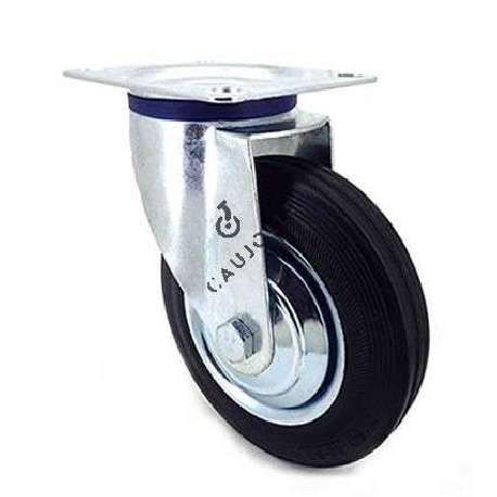 Industrial castor wheel with swivel plate in galvanised steel. Roller in black supple rubber, enabling silent handling.