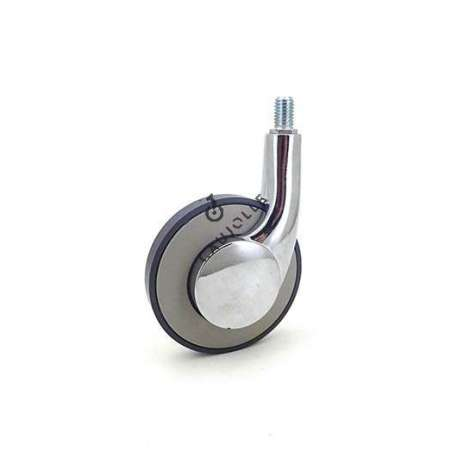 Designer castor wheel with threaded stem 80 mm diameter to screw in all types of deco furniture