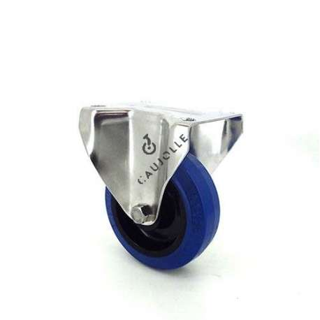 Fixed-position castor wheel STAINLESS STEEL 100 mm diameter supple blue rubber, silent movement.