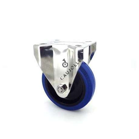 Fixed-position castor wheel STAINLESS STEEL 125 mm diameter supple blue rubber, silent movement.