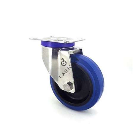 Swivel castor wheel STAINLESS STEEL 125 mm diameter supple blue rubber, silent movement.