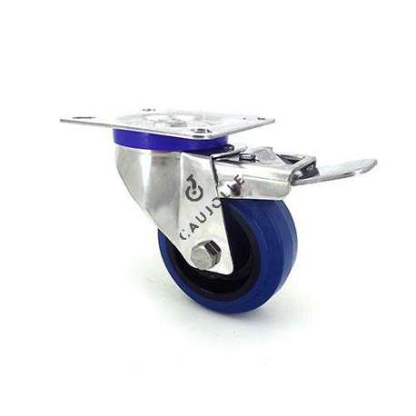 Swivel castor wheel with brake STAINLESS STEEL 80 mm diameter supple blue rubber, silent movement.