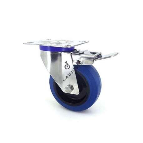 Swivel castor wheel with brake STAINLESS STEEL 100 mm diameter supple blue rubber, silent movement.
