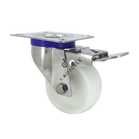 Swivel castor wheel with brake STAINLESS STEEL 80 mm diameter nylon for the food industry.