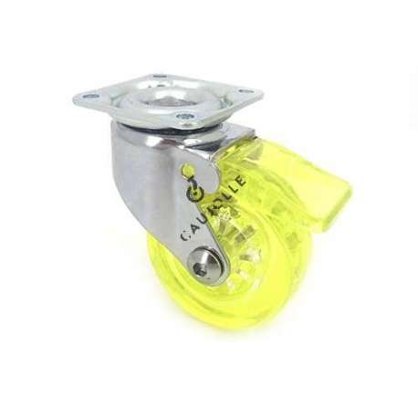 Swivel yellow castor wheel with brake in polyurethane, transparent 50 mm diameter.