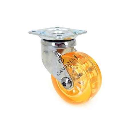 Swivel orange castor wheel in polyurethane, transparent 50 mm diameter.