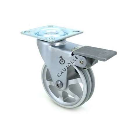 Swivel designer castor wheel with brake in die-cast aluminium 75 mm diameter.