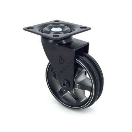 Black swivel designer castor wheel in die-cast aluminium 75 mm diameter.