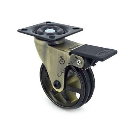 Swivel gold designer castor wheel with brake, in die-cast aluminium 75 mm diameter.