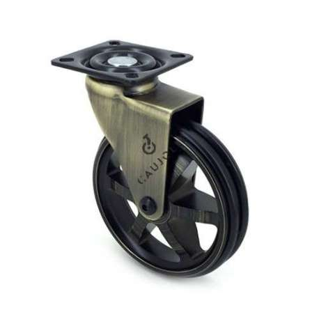 Swivel gold designer castor wheel, in die-cast aluminium 100 mm diameter.