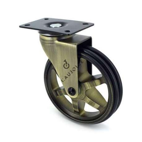 Swivel gold designer castor wheel, in die-cast aluminium 125 mm diameter.