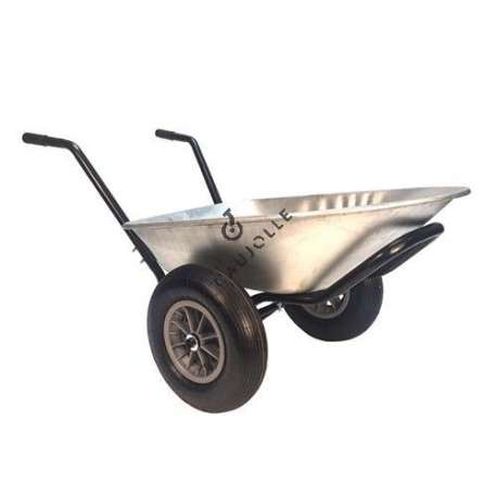 Two-wheeled wheelbarrow (60 L), max load capacity 120 kg.