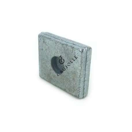 Plate base for door, 60 mm x 70 mm, with central 20 mm diameter hole and 15 mm thick.