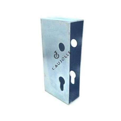 Door lock housing cover, in galvanised steel.