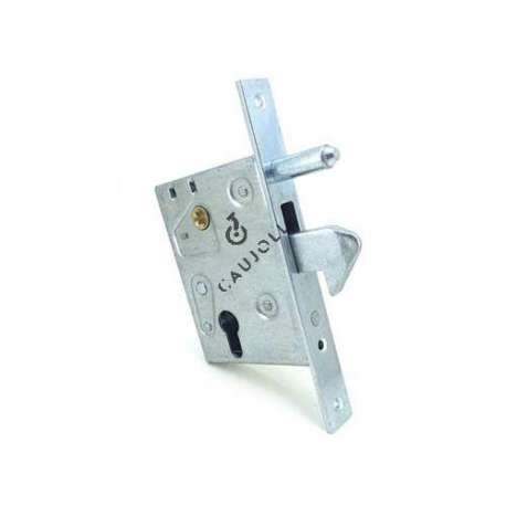 Door lock including a lock to insert in a recess of 40 mm, a counter plate, a key barrel with its 3 round keys and 5 attachment screws (4 for the lock / 1 for the key barrel).