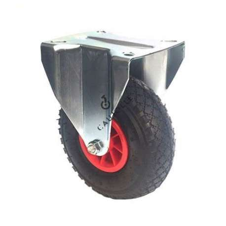 Fixed-position castor with 260 mm diameter pneumatic tyre wheel.
