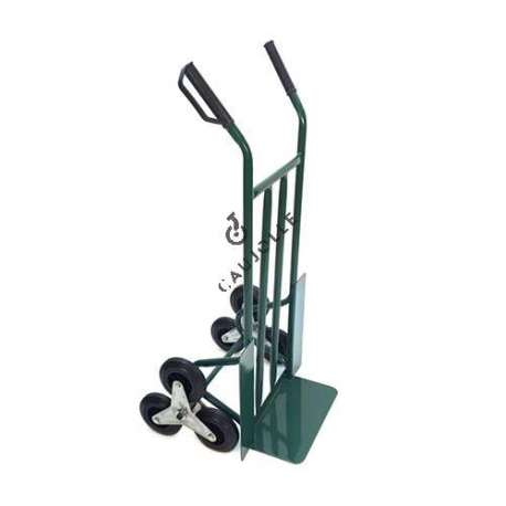 Home removals stair climber sack truck with 3 black wheels.