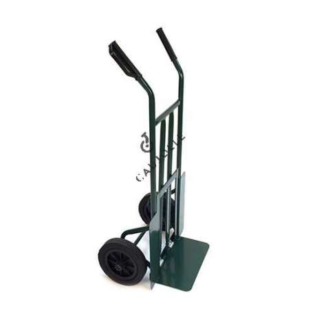 Folding toe sack truck with 2 solid rubber wheels, diameter 260 mm.
