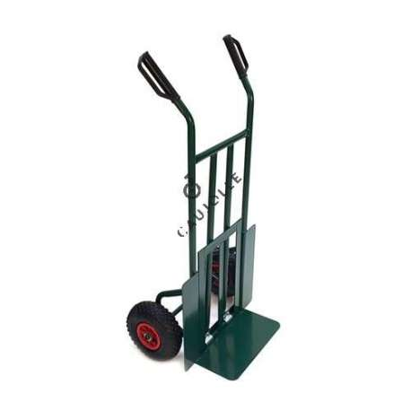 Folding toe sack truck with 2 inflated wheels, diameter 260 mm.